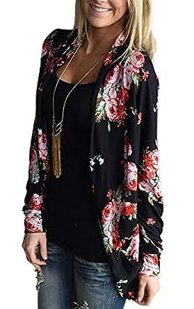 女士和服开衫花卉长袖前开襟开襟羊毛衫棉质外套 黑色 5.08cm Tag XL (US L)