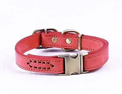 Chede 奢华真皮狗项圈 - 专为中型犬种手工制作,配有*优质真皮项圈,时尚、柔软、结实且舒适 浅红色 中