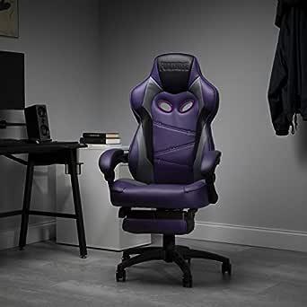RESPAWN 110 赛车风格游戏椅,可斜倚人体工程学皮革椅,带脚踏