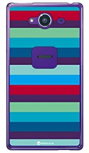 SECOND SKIN Moisture 多彩横条纹(透明) design by MoistureSSHXX2-PCCL-277-Y344 for AQUOS Xx2 502SH/SoftBank 蓝色