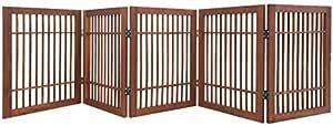 Urnporium 宠物狗门 坚固耐用 5 片式实心丙烯酸硬木折叠围栏室内或户外