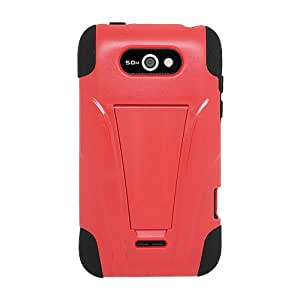 Amzer AMZ95453 Double Layer Hybrid Case Cover with Kickstand for LG Optimus Regard LW770 - 1 Pack - Retail Packaging - Black/Red