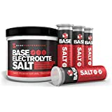 BASE Performance electrolyte salt | 226 Servings tub with 4 refillable race vials. Prevent cramping and gastrointestinal distress using a natural formula rapidly absorbed.