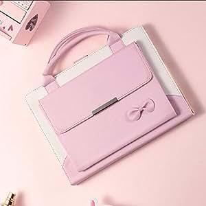 amhello 可爱手提包合成皮革磁性支架保护套手机套带自动* / 唤醒功能适用于 ipad for iPad 2/3/4(Baby Pink)