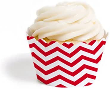 Dress My Cupcake Mini Cupcake Wrappers, Chevron, Red, Set of 50