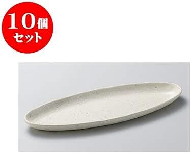 10个套装 餐盘 小仓粉引(粗)烤盘 [32 x 10.7 x 2.4cm] 【日式*馆 旅馆 日式餐具 餐饮店 业务用 餐具】