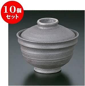 10个一套 盖盖碗 手绘黑吹4.3盖碗 [13 x 11cm] 土具 手工 【日式饭馆 旅馆 日式餐具 餐饮店 业务用 餐具】