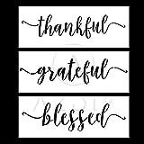 AZDIY 可重复使用模板套装 - 2 或 3 个设计家庭甜蜜家庭模板 带月桂花环 30.48 厘米 x 30.48 厘米 - 用于木上绘的文字模板 - 激光切割绘画模板 - 用于家居装饰和 DIY 项目 Grateful Thankful Blessed Grateful Thankful Blessed 1