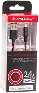 DRACOdesign 机器猫设计 iPhone5用 USB充电&数据通信 闪电 电缆 1MDRCLiAS100-BK 黑色