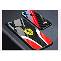 BR iPhoneX 定制汽车品牌碳纤维玻璃手机壳硬质保护壳带橡胶衬里/边框和按钮保护,防刮薄手机壳