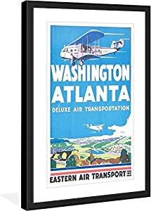 "Marmont Hill ""Washington Atlanta"" Vintage-Travel Framed Print, 12"" by 18"""