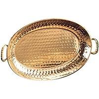 老荷兰装饰铜 13 1/4 x 8 3/4 椭圆托盘