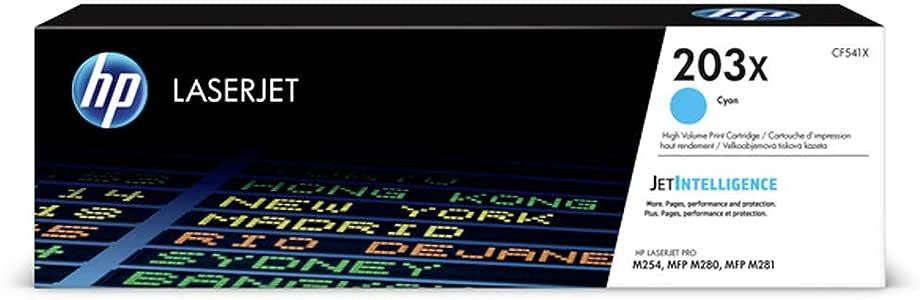 HP 惠普 CF541X 203X 高印量原厂LaserJet墨粉盒,青色,单包