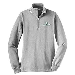 Campus Merchandise NCAA Wagner Seahawks 女式 1/4 拉链套头衫,L 码,运动麻灰色