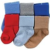 Luvable Friends 婴儿基本袜子6件装 蓝色 0-6 Months