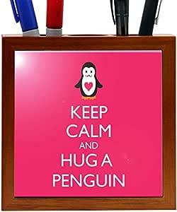 Rikki KnightTM Keep Calm and Hug a Penguin Brown Color Design 5 Inch Tile Wooden Tile Pen Holder