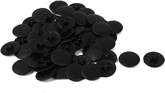 Uxcell a16032900ux0618 十字螺丝盖 6Mm 十字螺丝 17mm 直径 圆形黑色塑料装饰盖 60 件