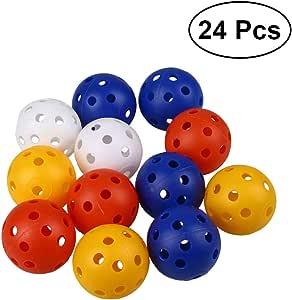 STOBOK 穿孔球 高尔夫练习球 气流中空高尔夫球 中空塑料运动训练球 室内和室外儿童玩具 - 24 只装(混合色)