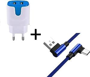 适用于 LG V20 智能手机 C 型电缆 90 度快速充电 + 双插座,颜色:蓝色