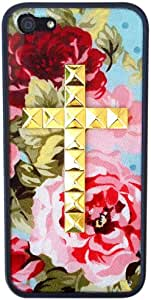 Wildflower Cases Cute Celebrity Blue Floral Gold Studded Cross for iPhone 5/5s case - Blue Floral