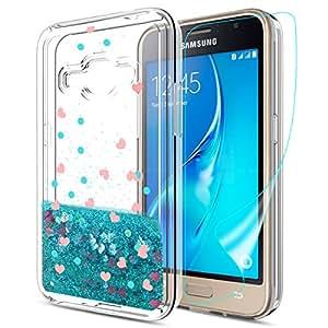 Galaxy J1 2016 保护套带女孩高清屏幕保护膜,外观清澄闪光 TPU 可爱手机保护套适用于三星 Galaxy J1 J120 蓝色