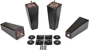 ProFurnitParts 17.78cm 浓缩咖啡色方形锥形金字塔木沙发腿 4 件套带支架板