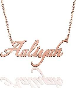 SOUFEEL 姓名项链吊坠个性化项链定制姓名牌礼品镀铜银、玫瑰金、14K 金适合女士、女孩、母亲、女士、男士、男孩、儿童  Aaliyah - Rose Gold