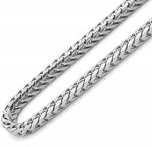 银链 925 镀铑纯银,3mm 纯佛朗哥 66.04 cm 纯银项链男式真银项链 40.64 cm - 76.20 cm