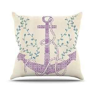 Kess InHouse Pom 图案设计 部落 Nautica 室内/室外抱枕 20L x 20W in. 白色 PG1022BOP04