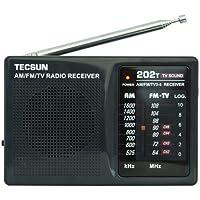 TECSUN 德生 R202T 袖珍式调频/调幅/电视伴音收音机(黑色)