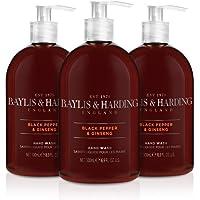 Baylis & Harding 男士黑胡椒&人参洗手液,500毫升*3瓶装(包装可能有所不同),16.9盎司(约479.11克)