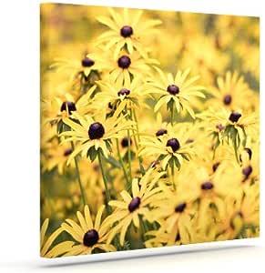 "Kess InHouse Debbra Obertanec ""Pantone Yellow""花朵雏菊户外帆布墙壁艺术 20"" x 24"" 黄色 DO1020AAC04"