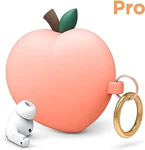 Elago Peach AirPods Pro 保护套兼容苹果 AirPods Pro 保护套,3D 可爱设计保护套带钥匙扣