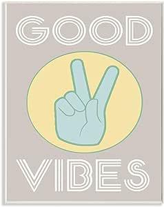 Stupell 家居装饰系列 Good Vibes Peace 手工拉伸帆布墙画 绿色 10 x 15 mwp-324_wd_10x15
