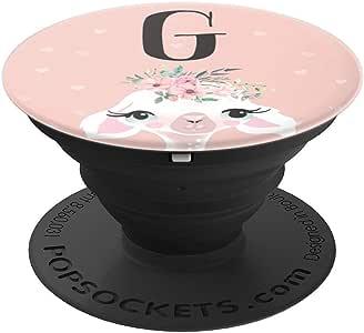 可爱的美洲驼礼物情侣花朵皇冠女孩粉色字母 G PopSockets 手机和平板电脑握架260027  黑色