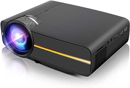 Porjector, LoongSon 家庭影院视频投影仪 1080P,LED 液晶迷你投影仪便携式电影投影仪支持 HDMI,USB,SD 卡,VGA,AV 适用于家庭影院,电视,笔记本电脑,游戏,智能手机和 iPad 黑色 YG400