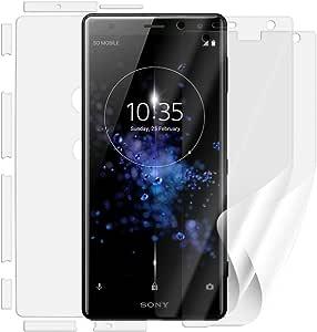 Sony Xperia XZ2 H8266 屏幕保护膜[3件装,2种版本] - 无论有没有手机外壳使用时,均覆盖屏幕和背面,非钢化玻璃