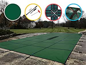 Water Warden Pool Safety Cover Solid Green 30 by 50-Feet Pool