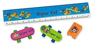 NameStar 4-Piece School Accessory Kit: Ruler, Erasers, Sharpener, Snake/Heart and Skull Designs - Super Kid (91012)