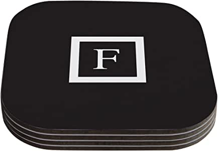 "Kess InHouse KESS Original ""Monogram Solid Black Letter F"" Coaster, 4 by 4-Inch, Black, Set of 4"