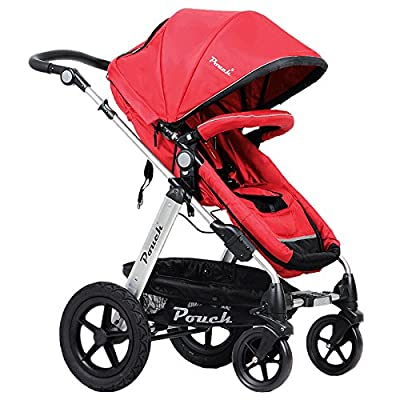 Pouch帛琦航空铝材双向充气后轮高景观婴儿推车p68精英版 红色(适用0-36个月、5点式安全带、双向推行,买1送4:棉垫、蚊帐、手腕带、凉席。高景观避震轻便宝宝手推车)
