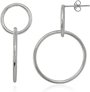 纯银抛光圆形前方环状耳环