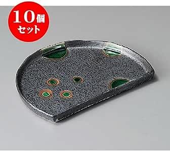 10个一套 烤盘 织部圆纹半月盘[200 x 146 x 16mm] 日式餐具 日式*馆 旅馆 餐饮店 业务用