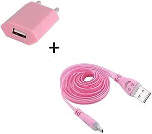 Shot 保护套充电器套装适用于摩托罗拉 Moto G4 智能手机微型 USB(笑脸 LED 数据线 + USB 插头)安卓接口(淡粉色)
