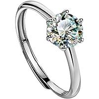 michooyel 1 克拉莫桑石订婚戒指 925 纯银 D 色,VVS 净度碳硅石首饰 女式