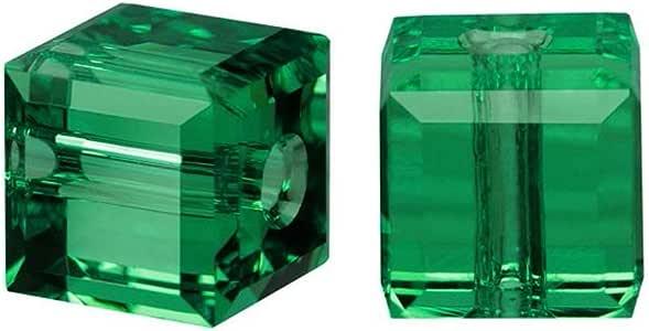 施华洛世奇诞生石立方体水晶珠耳环手镯脚链项链 钥匙扣 首饰制作用品 祖母绿 4mm (Small beads)