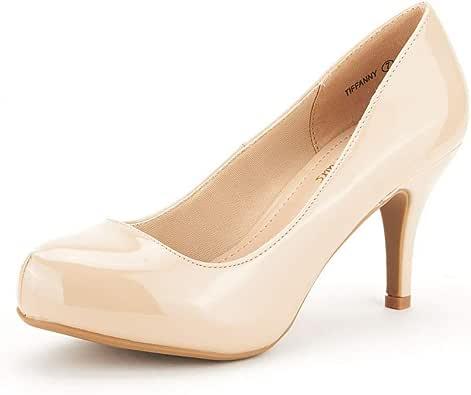 DREAM PAIRS Tiffany 女式经典优雅百搭低细高跟正装厚底高跟鞋 Tiffanny-nude-pat 9 M US