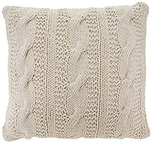 "1020 Mckenna 针织系列草质电缆针织设计羽绒棉抱枕 香草色 20 ""英寸 1020.VN20S"