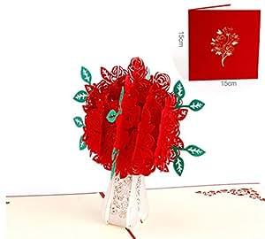 DOFE 儿童生日弹出式贺卡,适用于妻子丈夫节卡片和周年纪念结婚卡毕业礼物。 Red Rose