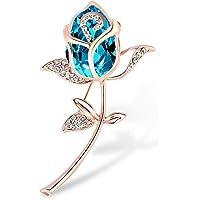 Casa De Novia 女士优雅郁金香胸针花朵 6 色水晶水钻婚礼派对花束首饰礼物